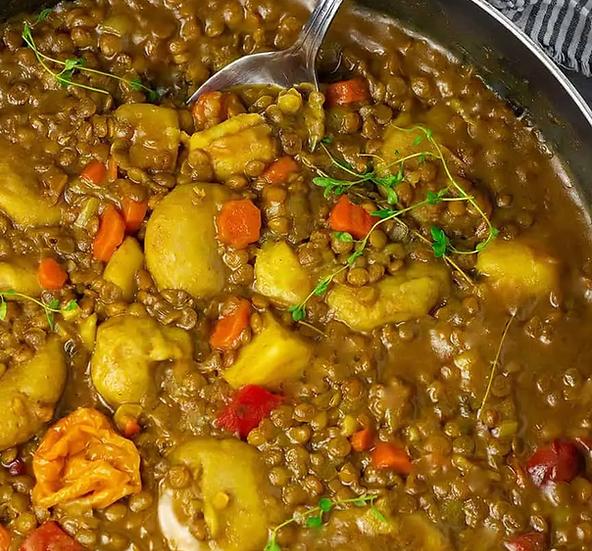 St. Thomian Curry Lentils-Vegan