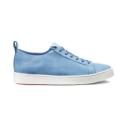 Sneaker Elasticizzata Santoni in Camoscio Celeste