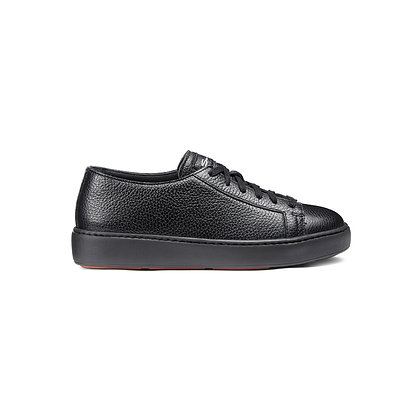 Sneaker Clean in pelle bottalata nera Donna Santoni