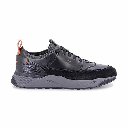 Sneaker in Pelle e Camoscio Nera