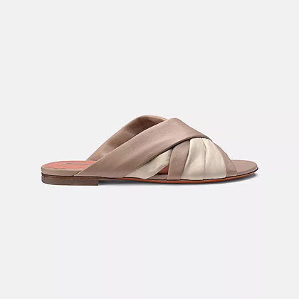 Comoda slipper in morbida nappa nude Santoni