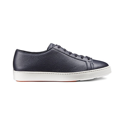 Sneaker Clean in  pelle blu Santoni
