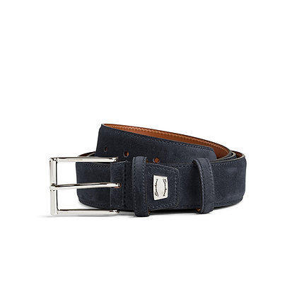 Cintura Regolabile In Camoscio Blu