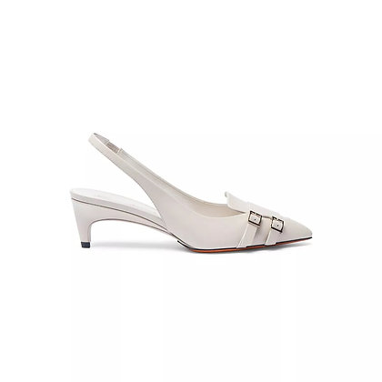Slingback Santoni in pelle color burro Donna