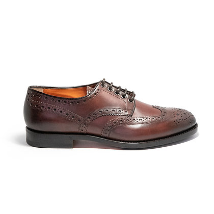 Stringata Derby Full Brogue in Pelle Marrone