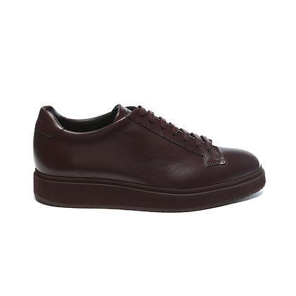 Sneaker allacciata in pelle bordeaux Santoni