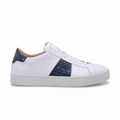 Sneaker  con Dettaglio Intrecciato Blu in Pelle Bianca