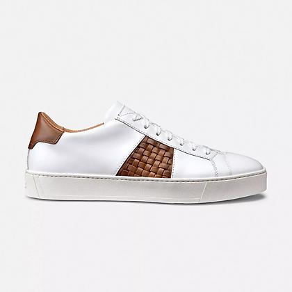 Sneaker Santoni Flessibile in Pelle Bianca