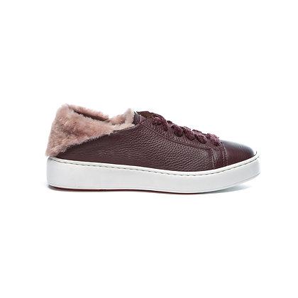 Sneaker Clean flessibile in pelle e pelliccia bordeaux Santoni