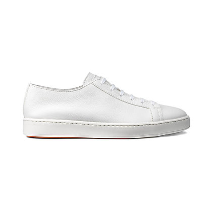 Sneaker Clean In Pelle Bianca Sfoderata Santoni