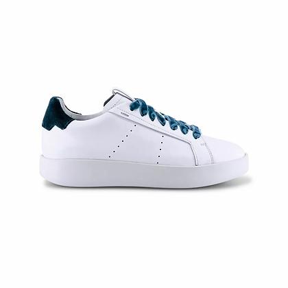Sneaker Wide in pelle bianca e dettaglio petrolio Santoni