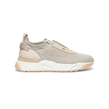 Sneaker  in Pelle e Tessuto Sabbia