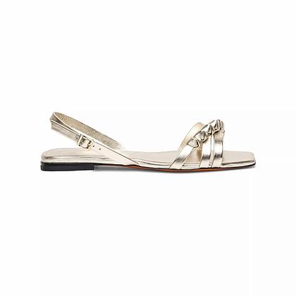 Sandalo in Pelle Laminata Oro