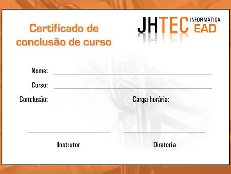Certificado desenvolvido para JHTEC
