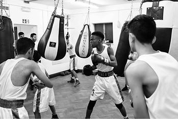 Junior boxers using punch bags