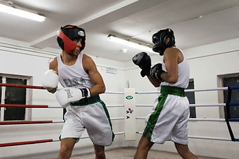 Boxers sparring in the ring