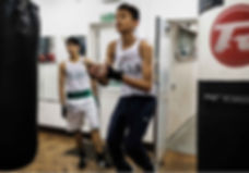 Boxers training in the gym