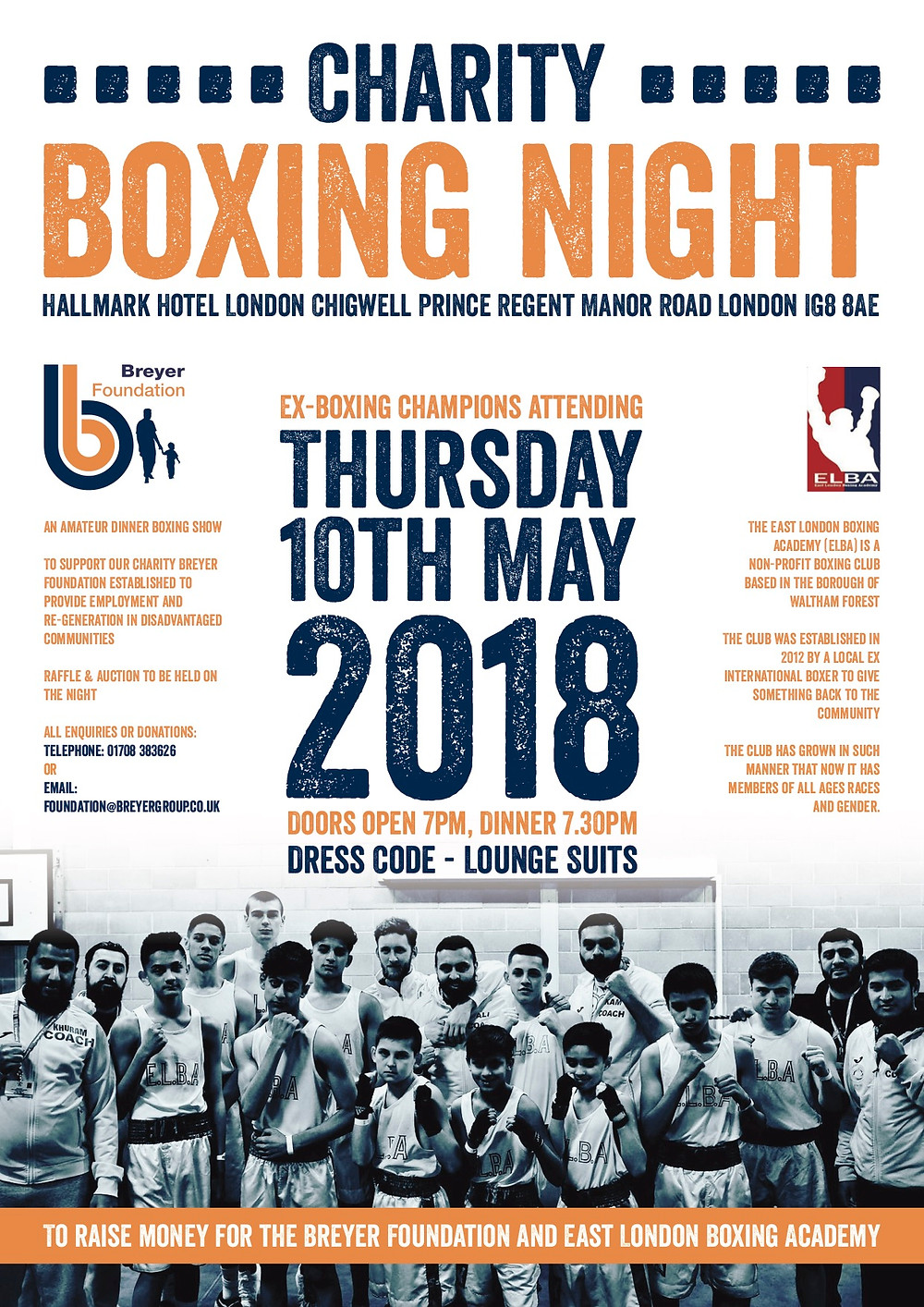 Charity Boxing Night poster for 10th May at the Hallmark Hotel, Chigwell