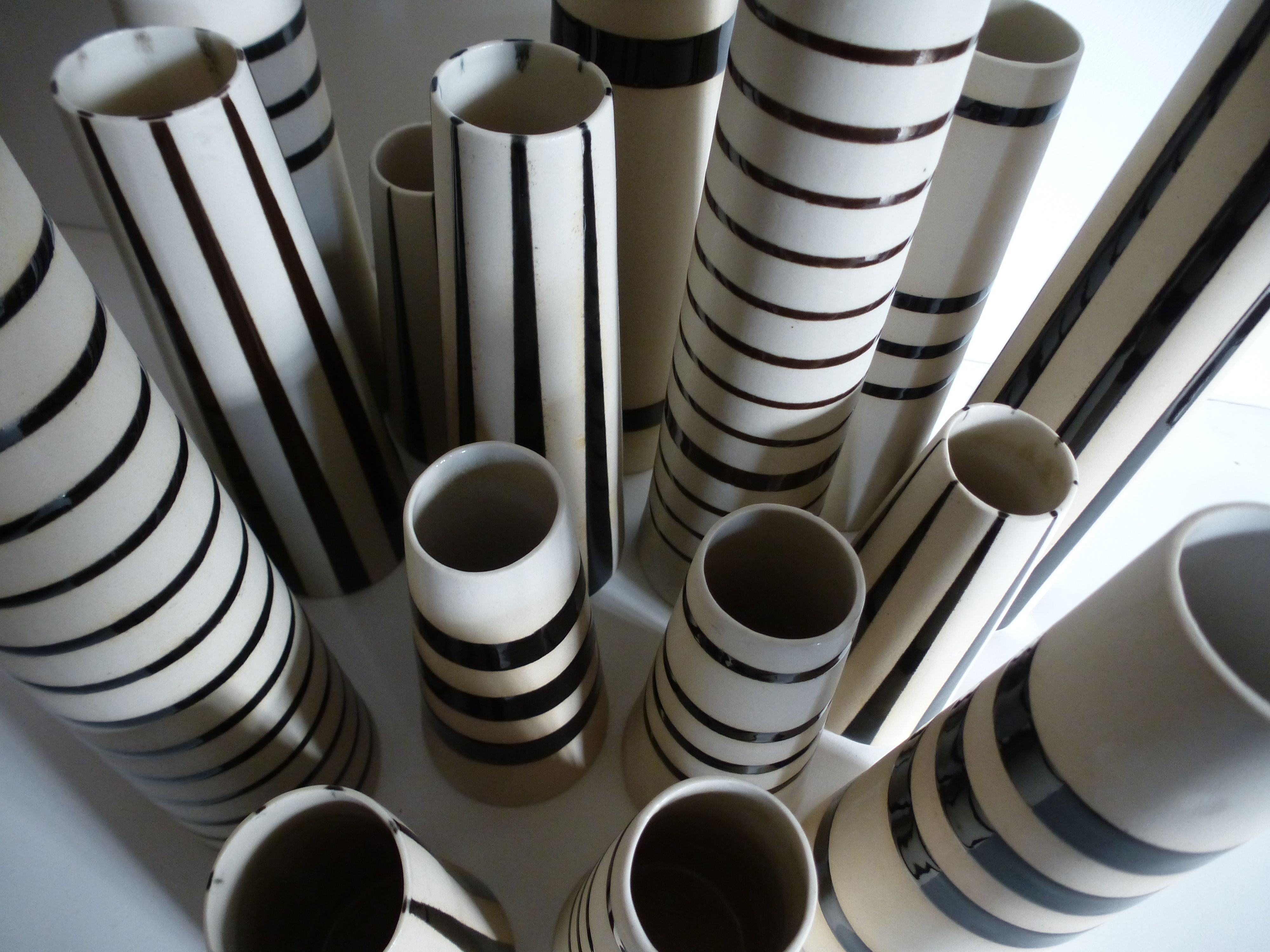 close up striped vases