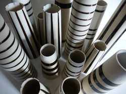 close up striped vases