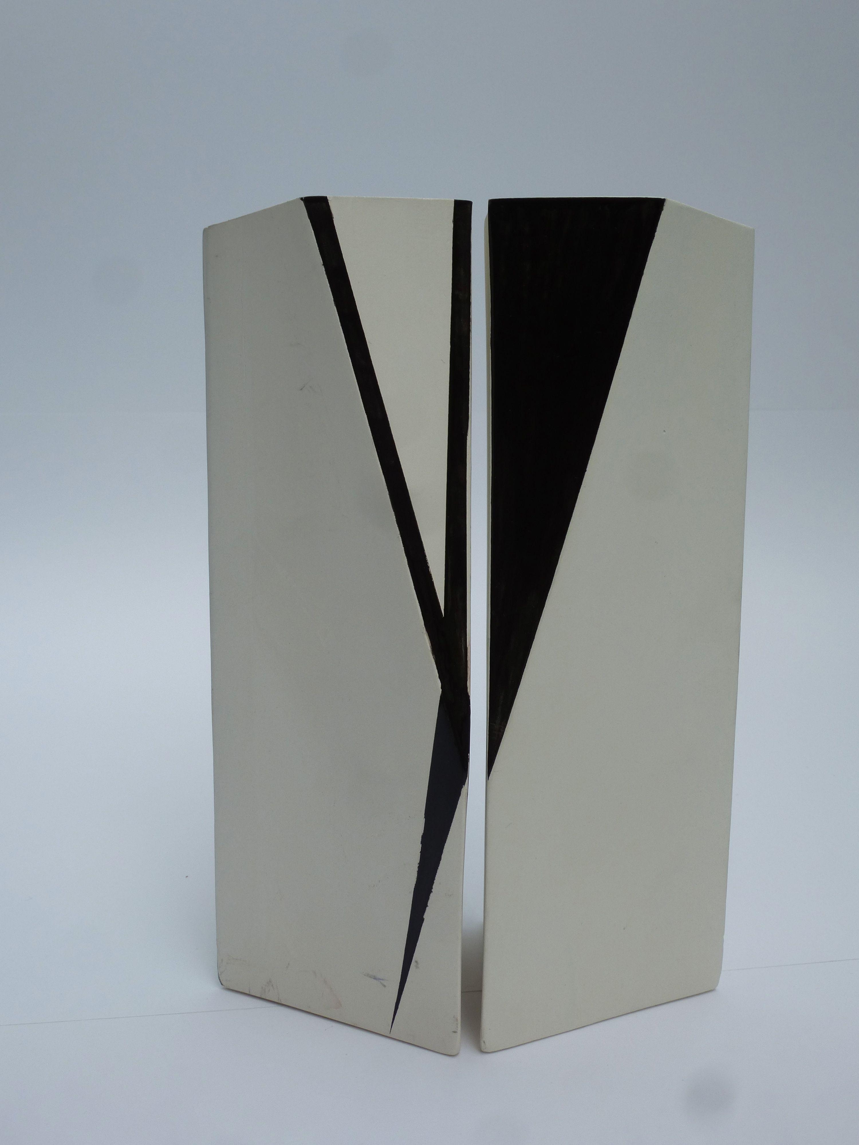 black glaze on unglazed white with blue or black glaze inside - Version 2