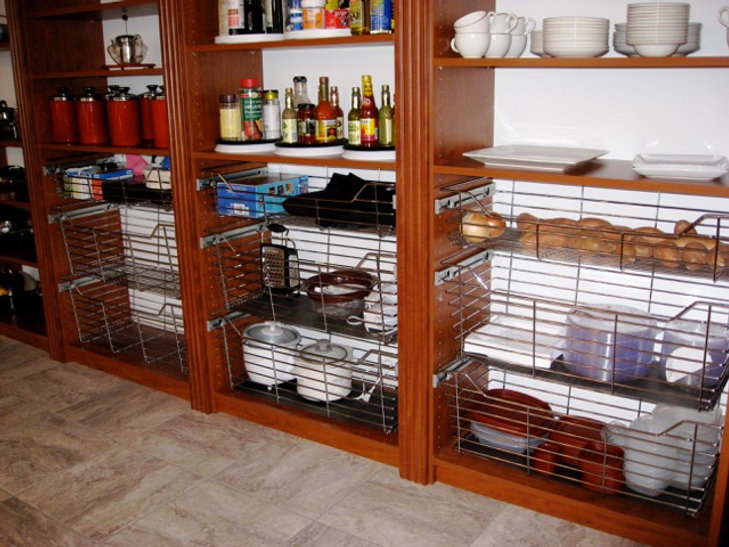 Stained Pantry with baskets - Lake Charles, LA - Shelve It