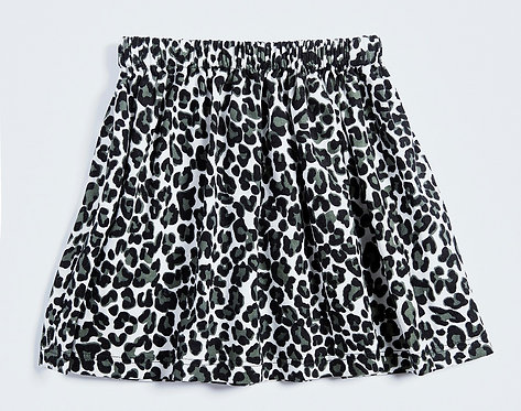 AGE 3-4 / Leopard Needlecord Skirt