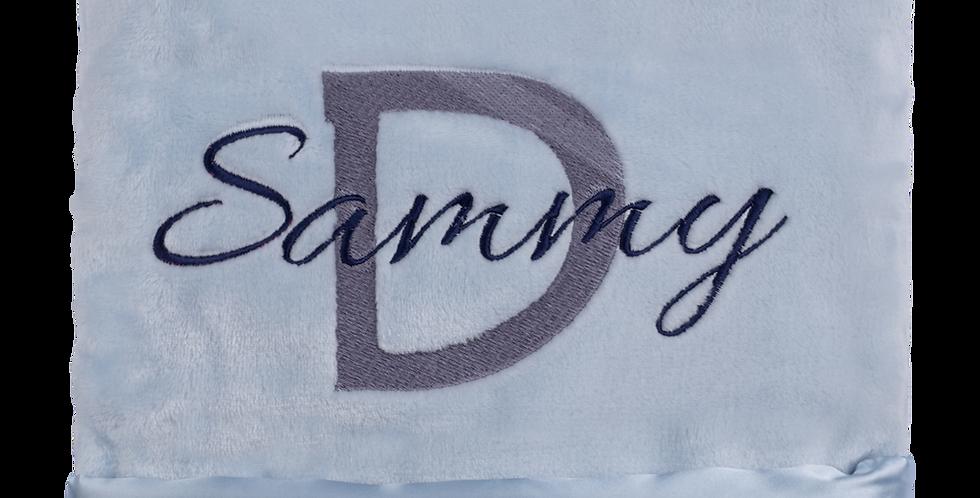 Blue Minky Blanket with Satin Trim