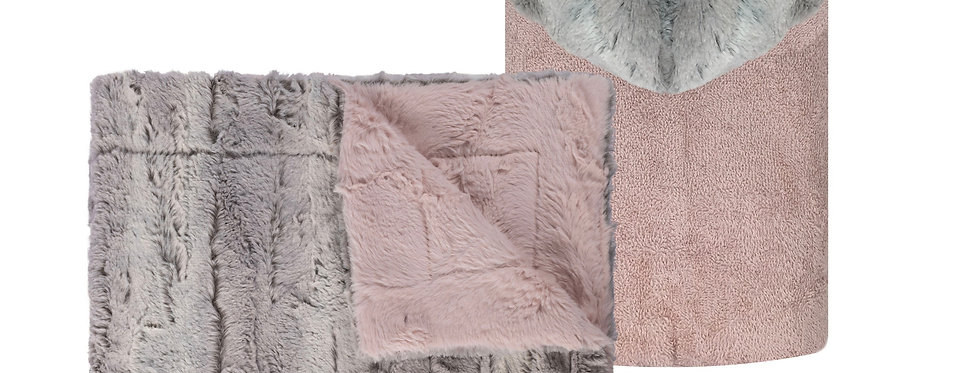 Mia Silver/Light Pink Blanket and Towel Set