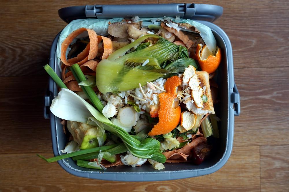 Image of a compost bin full of food scraps.
