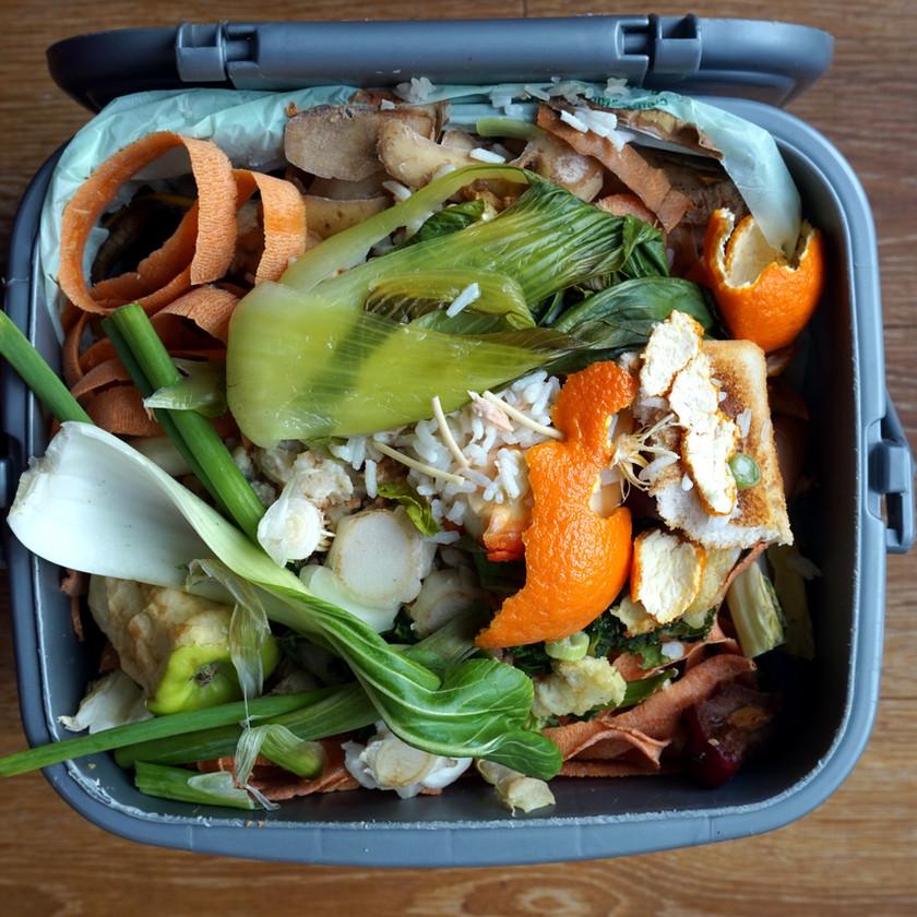 Compost bin full of food scraps.