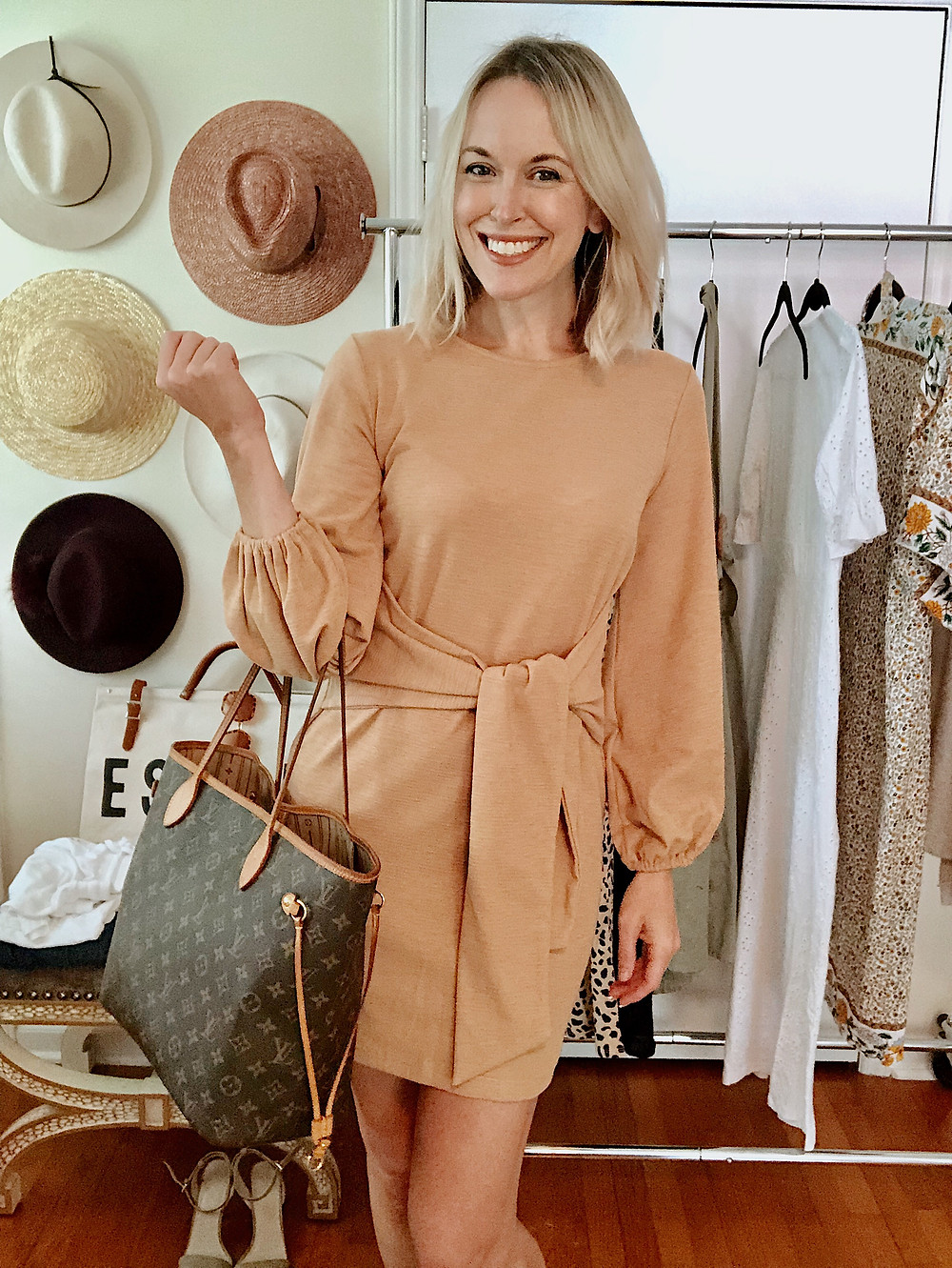 Long sleeve tan dress with tie waist belt, Amazon fashion find, Louis Vuitton Neverfull MM, date night outfit, anniversary getaway to Asheville, style blogger, everyday style