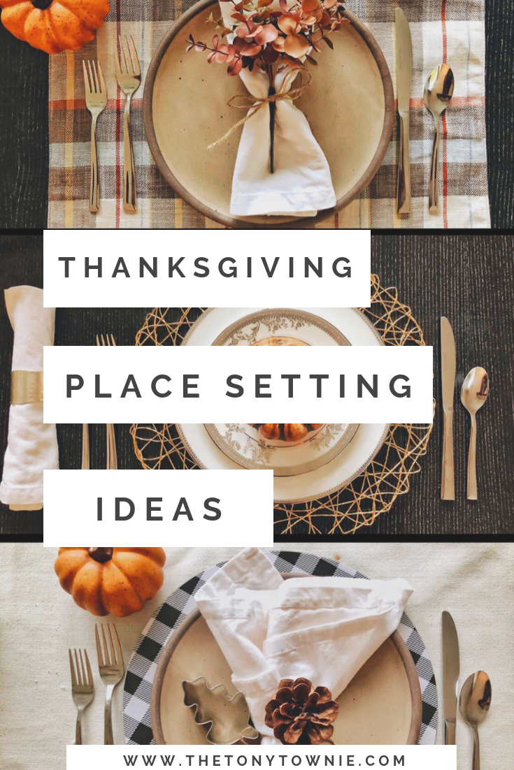 Three Thanksgiving place setting ideas Pinterest image.