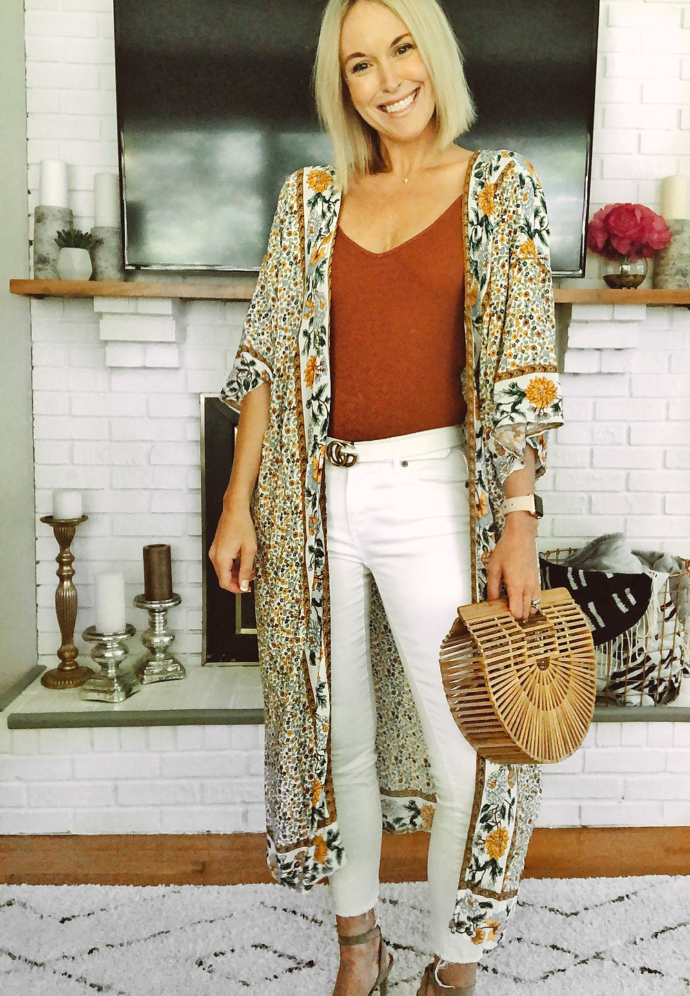 Nordstrom BP bodysuit, summer outfit, womens weekend style, floral kimono duster, LOFT white jeans, wooden ark bag, Amazon fashion finds, fashion blogger, summer trends