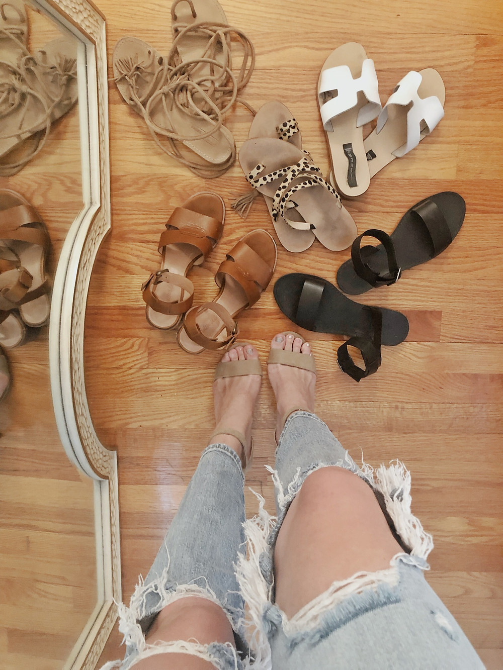womens sandals, leopard print sandals, Steve Madden Greece slide sandals, Madewell sandals, lace-up sandals, fashion blogger, shopping hack