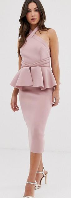 ASOS pink peplum halter dress, summer wedding guest dress, pink cocktail dress