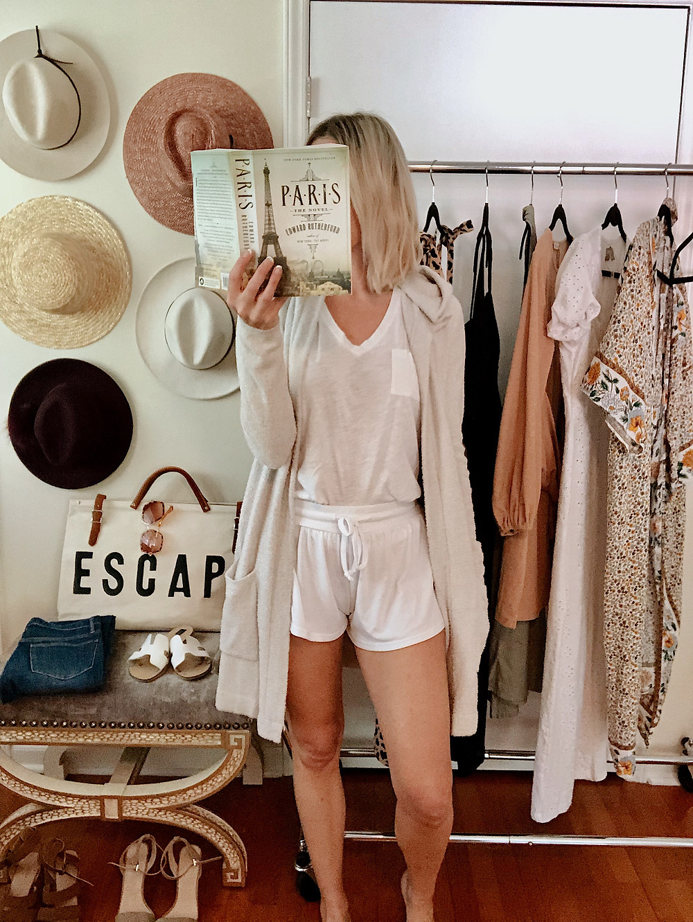 Loungewear, vacation, Barefoot dreams cardigan, white tank, white sleep shorts, cozy outfit, style blogger, everyday style, anniversary getaway to Asheville