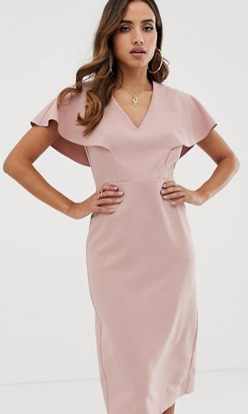 ASOS flutter sleeve pencil dress, pink cocktail dress sleeves, summer wedding guest dress