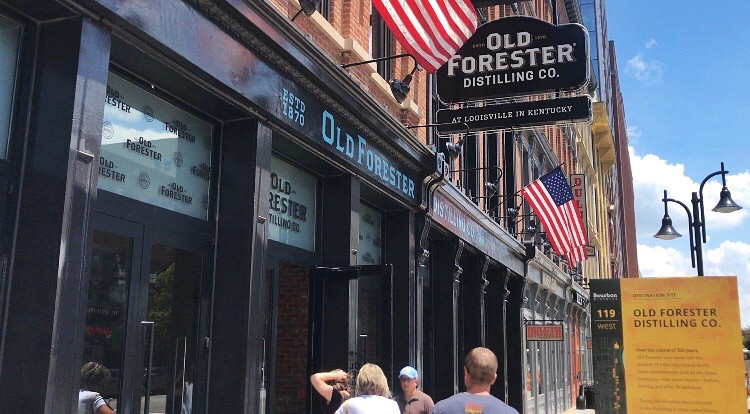 Entrance to Old Forester distillery on Whiskey Row, Main street Louisville, Urban bourbon trail, Bourbon Trail travel guide, travel blog, best distillery tour
