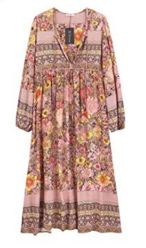 R. Vivimos pink floral retro boho midi dress, summer dresses, Amazon fashion
