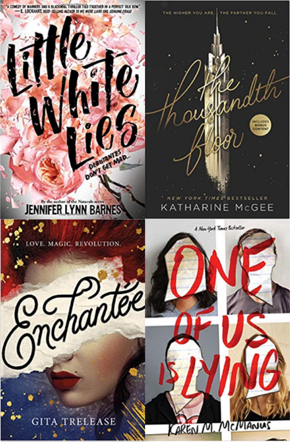 Best summer beach reads book list for young adults, little white lies, the thousandth floor, enchantée, one of us is lying