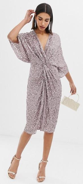 ASOS sequin kimono midi dress, summer wedding guest dress, sequin cocktail dress, vegas dress