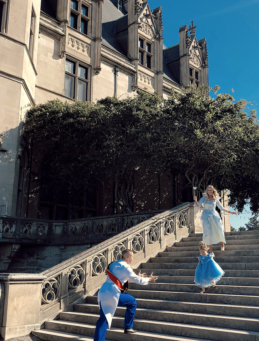 A family dressed up in characters from Cinderella reenact a scene on the library steps of the Biltmore House.