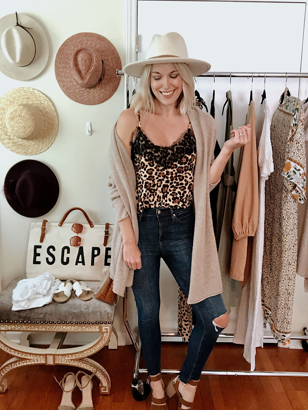 Travel outfit to Asheville NC, leopard camisole, beige cardigan sweater, high waist skinny jeans, rancher hat, style blogger, everyday style