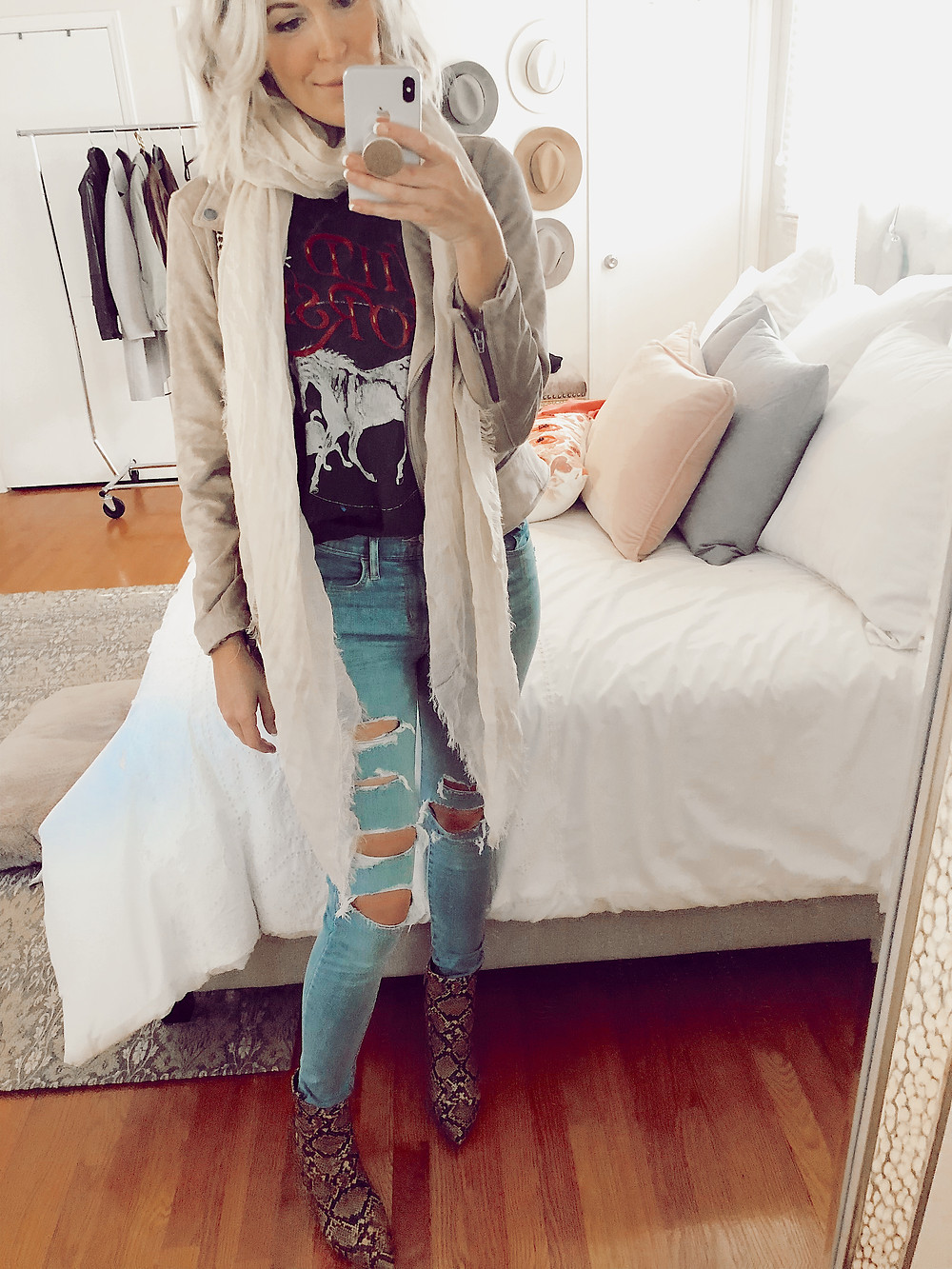 How to style snakeskin booties for fall, moto jacket and graphic tee and scarf, fall casual outfit ideas, style tips for women, fashion blog