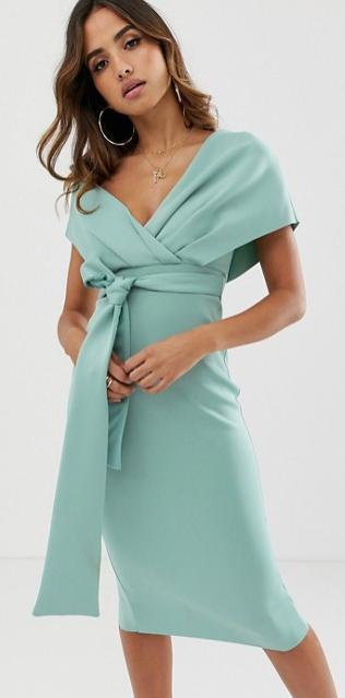 ASOS midi dress, summer wedding guest dress, bridal shower dress, green cocktail dress