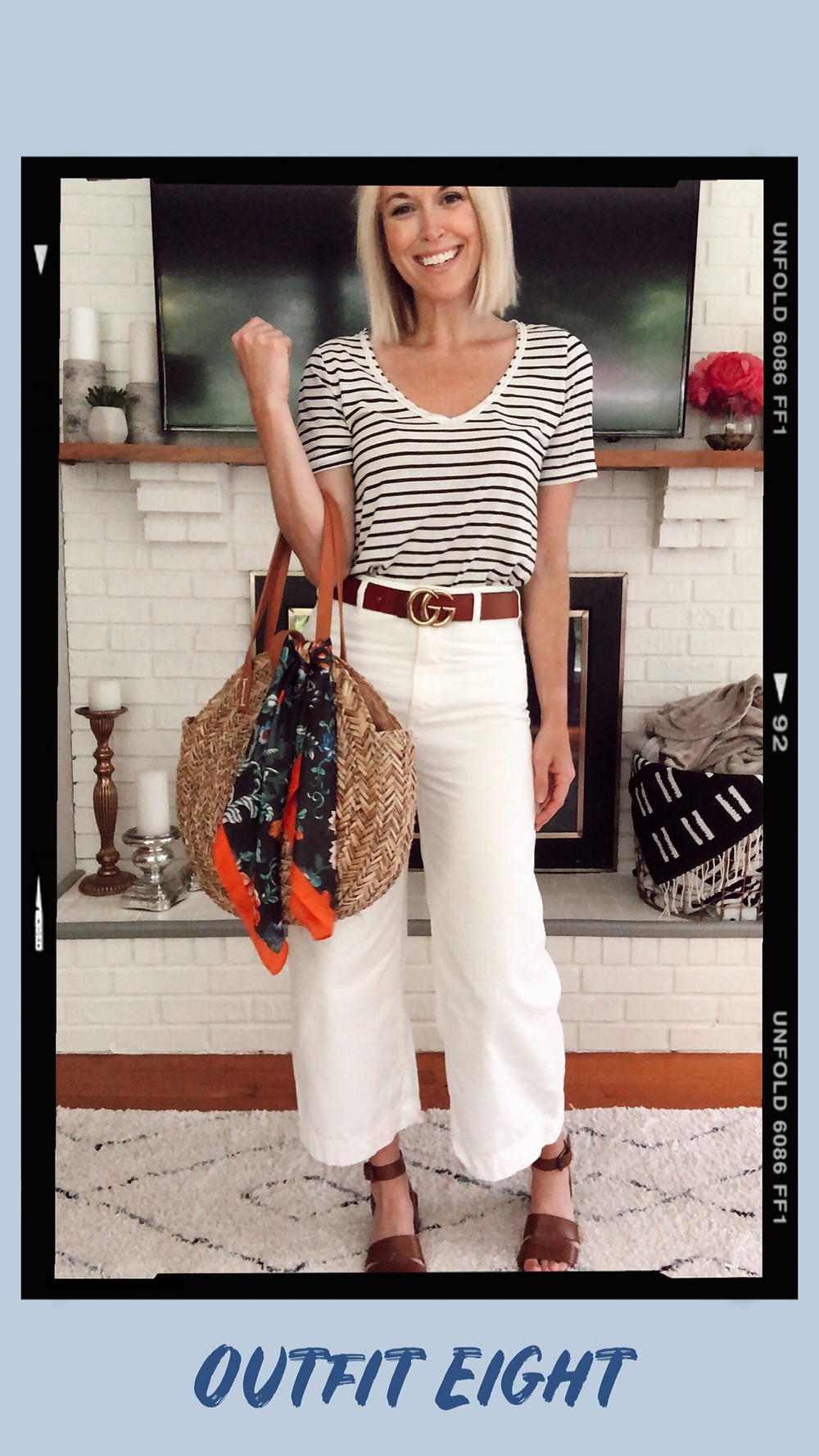 Summer capsule wardrobe outfit idea, striped t-shirt, Free People Patti cropped white pants, GG designer dupe belt, Target round straw bag, floral scarf, Madewell Kate heeled sandals, wardrobe stylist and fashion blogger