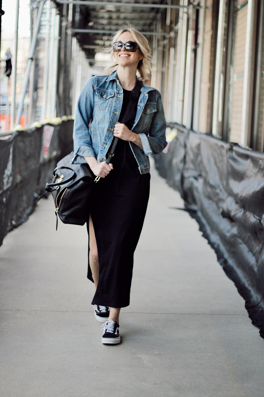 black maxi dress, denim jacket, old skool vans, philip lim pashli bag