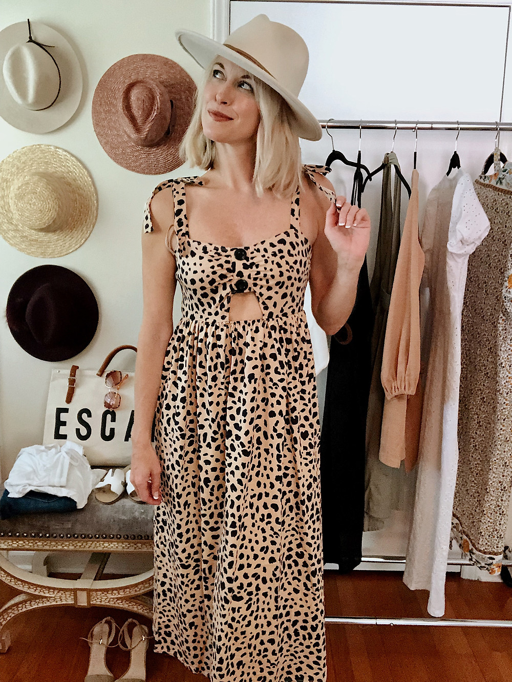 Leopard midi dress, shoulder bow ties, travel style, summer outfit, style blogger, everyday style, anniversary getaway to Asheville