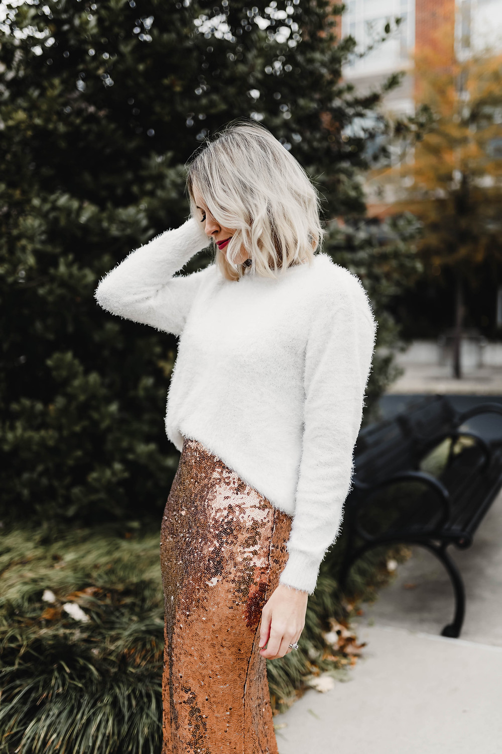 Sequin maxi skirt and white eyelash sweater, holiday outfit, holiday style, New Year's Eve outfit idea